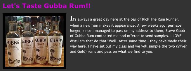 Lets taste Gubba Rum